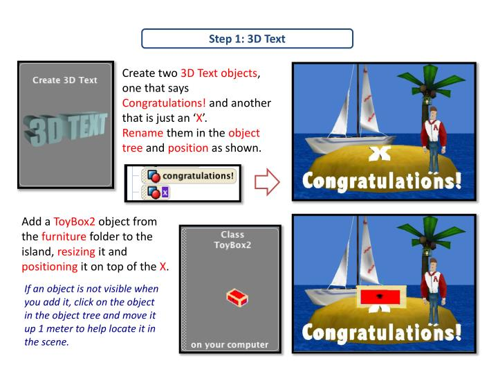 Step 1: 3D Text