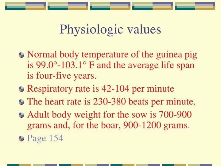 Physiologic values