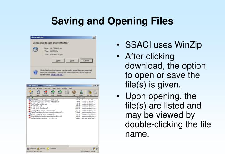 Saving and Opening Files