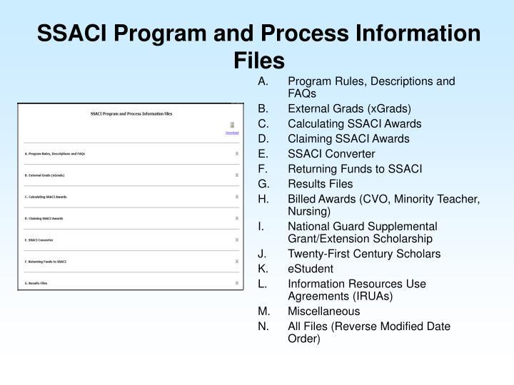 SSACI Program and Process Information Files