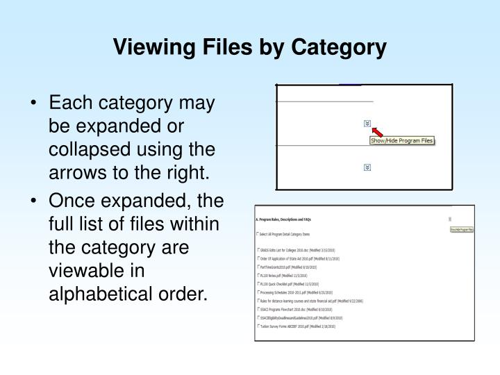 Viewing Files by Category