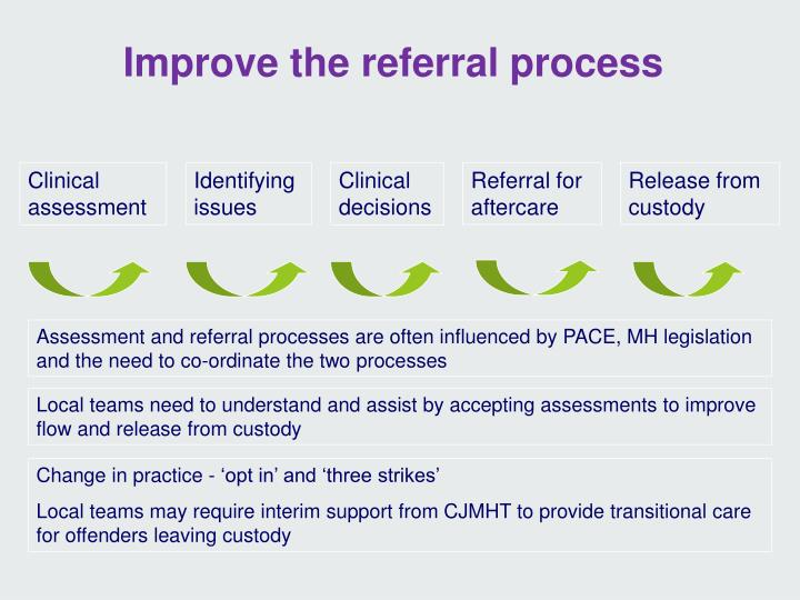 Assessment and referral processes are often influenced by PACE, MH legislation and the need to co-ordinate the two processes