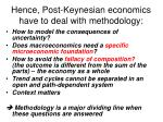 hence post keynesian economics have to deal with methodology