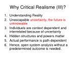 why critical realisme iii