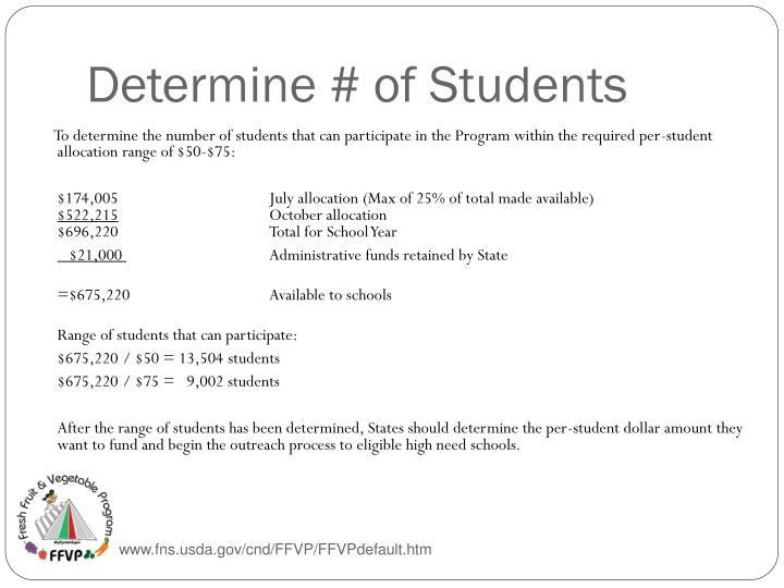 Determine # of Students