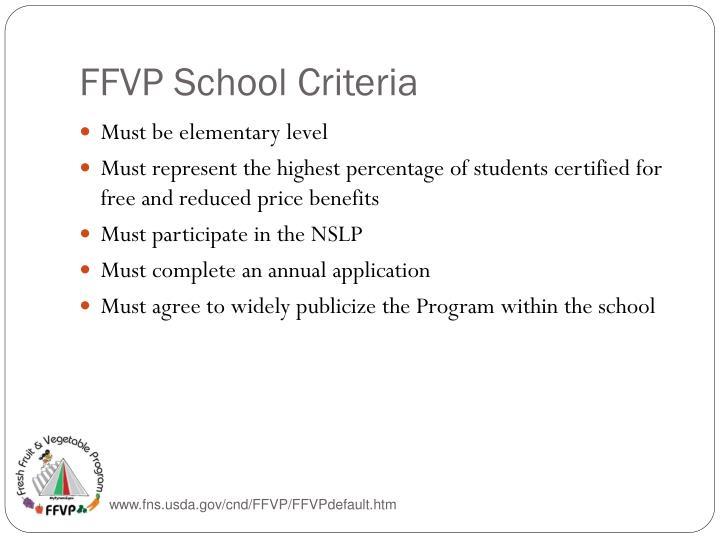FFVP School Criteria