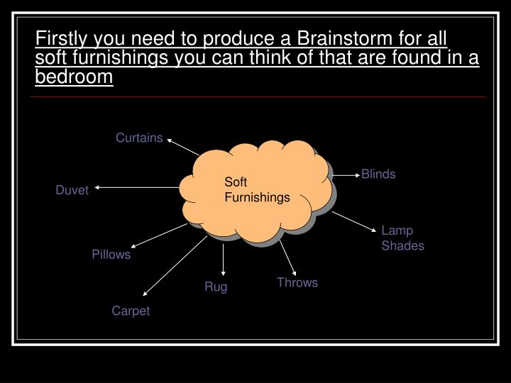 Firstly you need to produce a Brainstorm for all soft furnishings you can think of that are found in a bedroom
