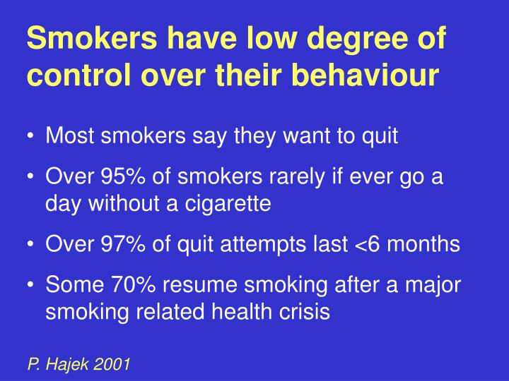 Smokers have low degree of   control over their behaviour