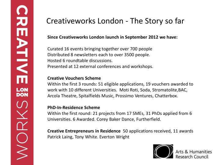 Creativeworks London - The Story so far