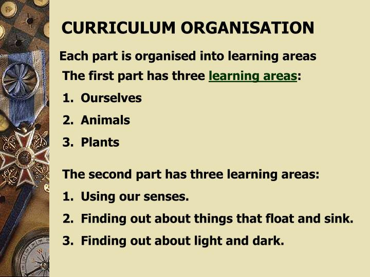CURRICULUM ORGANISATION