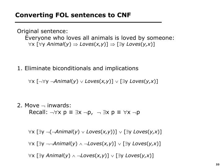 Converting FOL sentences to CNF