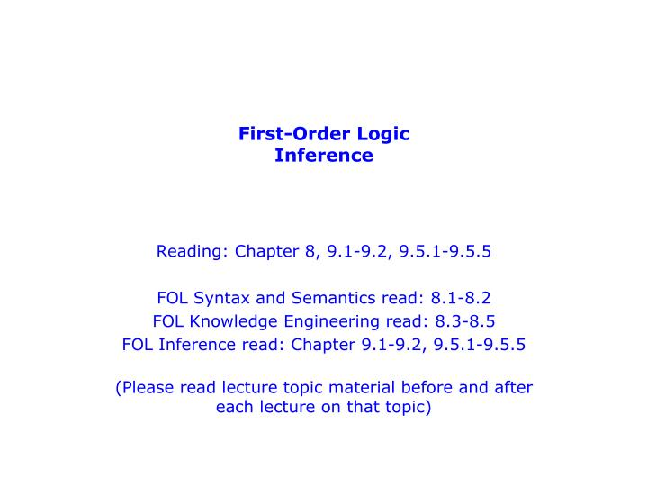 First order logic inference