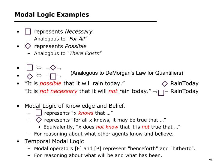 Modal Logic Examples