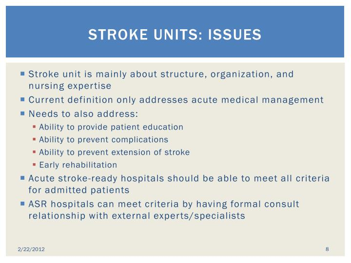 Stroke Units: issues