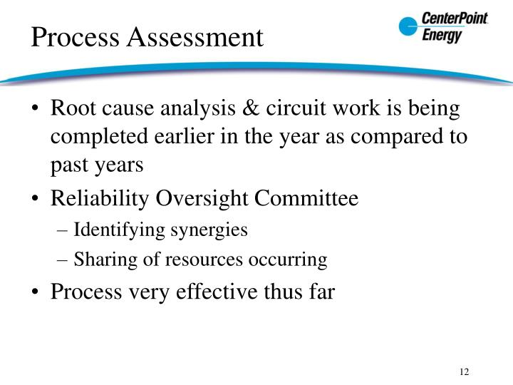 Root cause analysis & circuit work is being completed earlier in the year as compared to past years