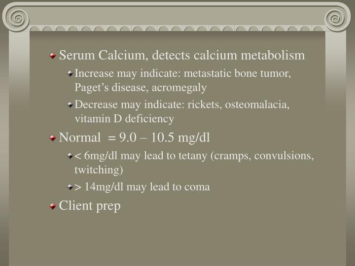 Serum Calcium, detects calcium metabolism