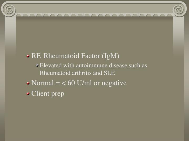 RF, Rheumatoid Factor (IgM)