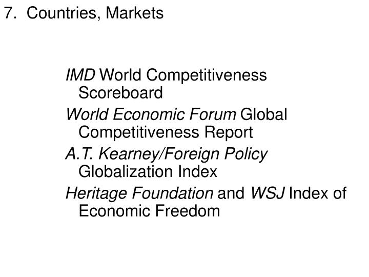 7.  Countries, Markets