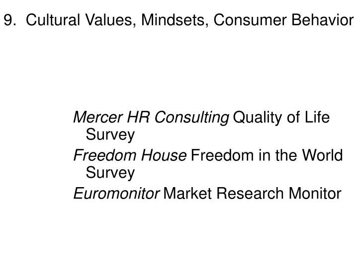 9.  Cultural Values, Mindsets, Consumer Behavior