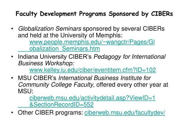 Faculty Development Programs Sponsored by CIBERs