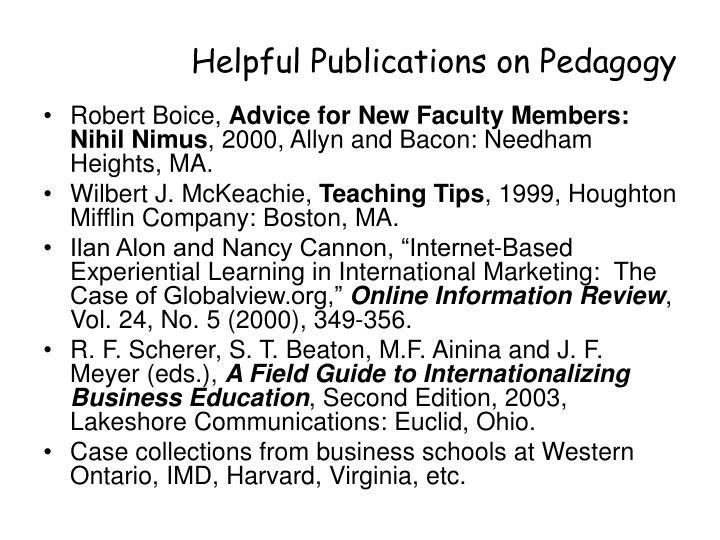 Helpful Publications on Pedagogy