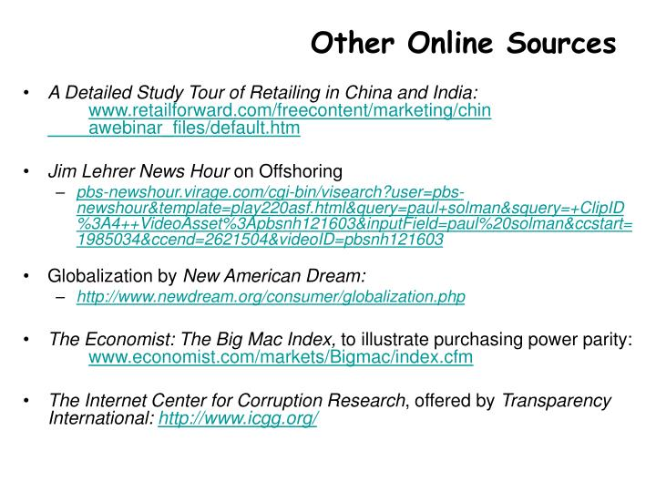Other Online Sources