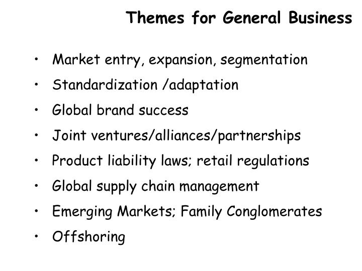 Themes for General Business