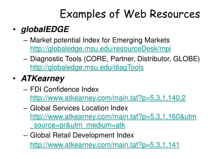 Examples of web resources