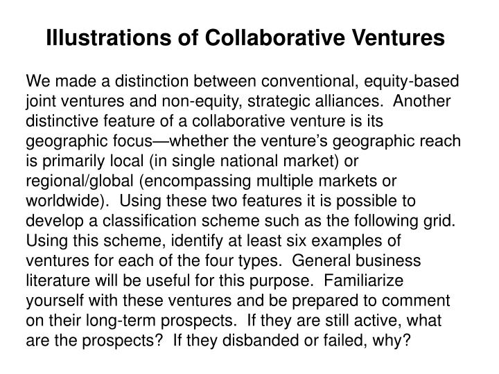 Illustrations of Collaborative Ventures