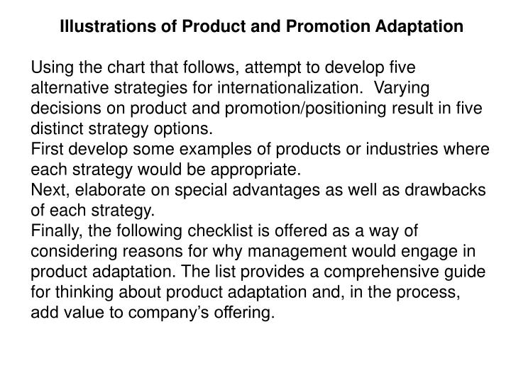 Illustrations of Product and Promotion Adaptation