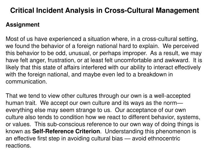 Critical Incident Analysis in Cross-Cultural Management