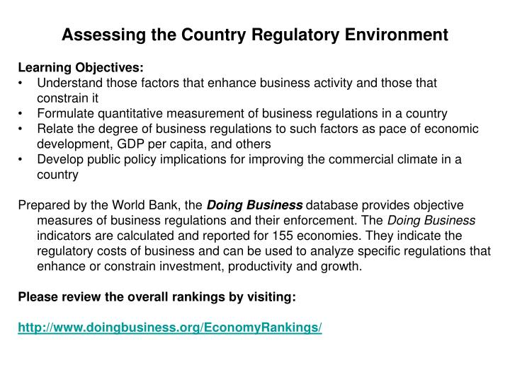 Assessing the Country Regulatory Environment