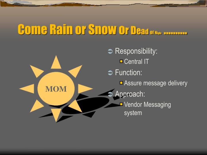 Come Rain or Snow o