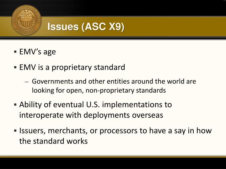 Issues (ASC X9)