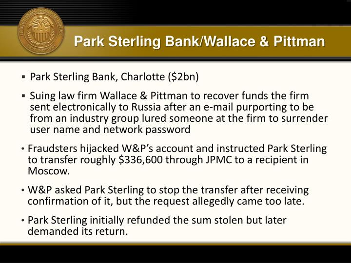 Park Sterling Bank/Wallace & Pittman