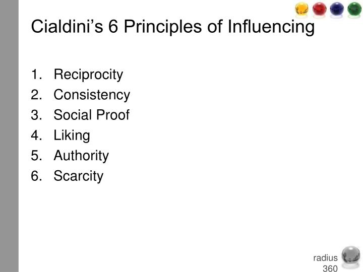 Cialdini's 6 Principles of Influencing