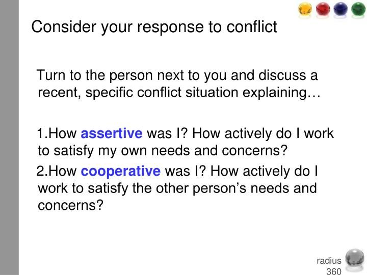 Consider your response to conflict