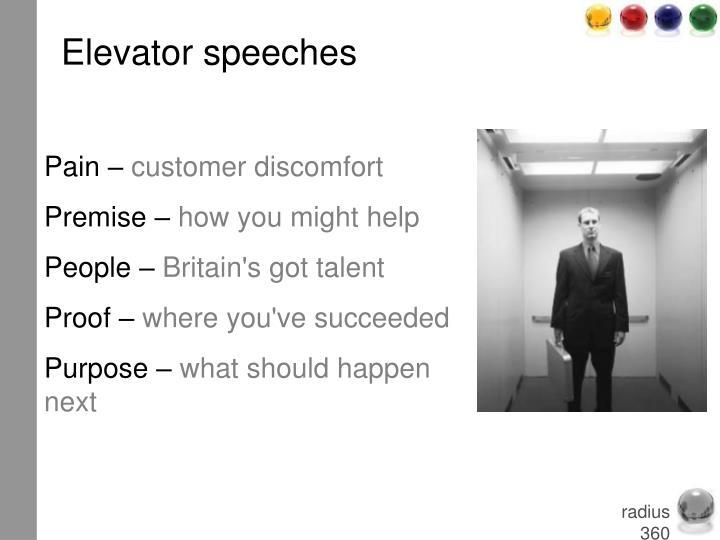 Elevator speeches