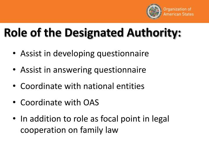 Role of the Designated Authority: