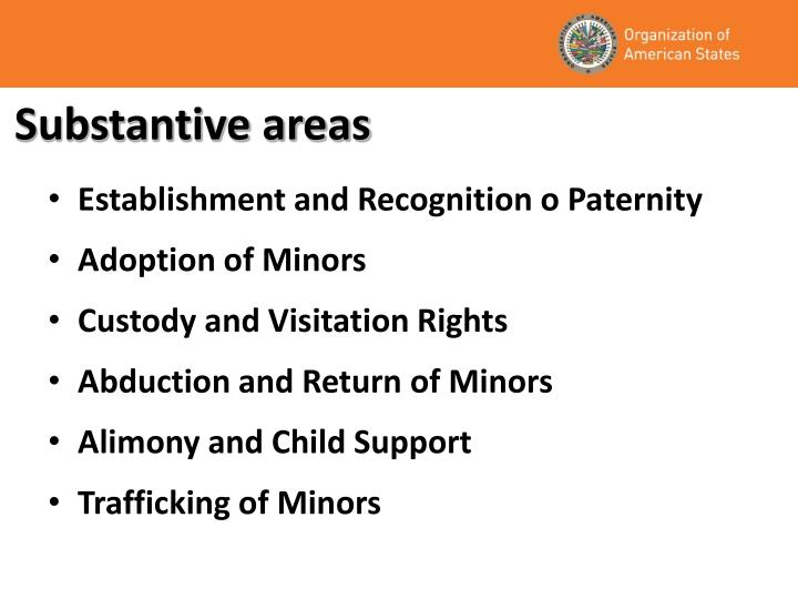 Substantive areas