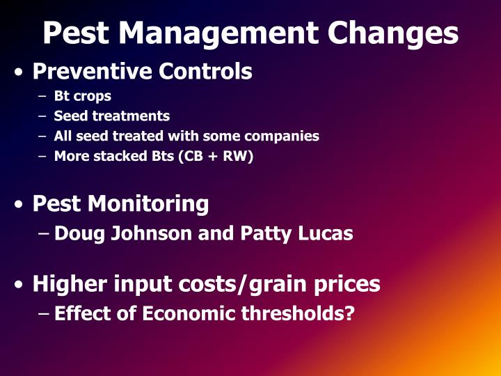 Pest management changes