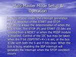 multi master mode setup operation