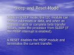 sleep and reset mode