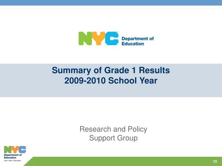 Summary of Grade 1 Results