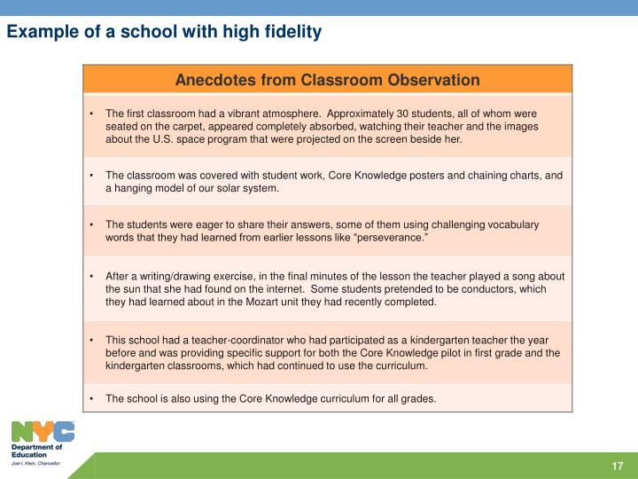 Example of a school with high fidelity