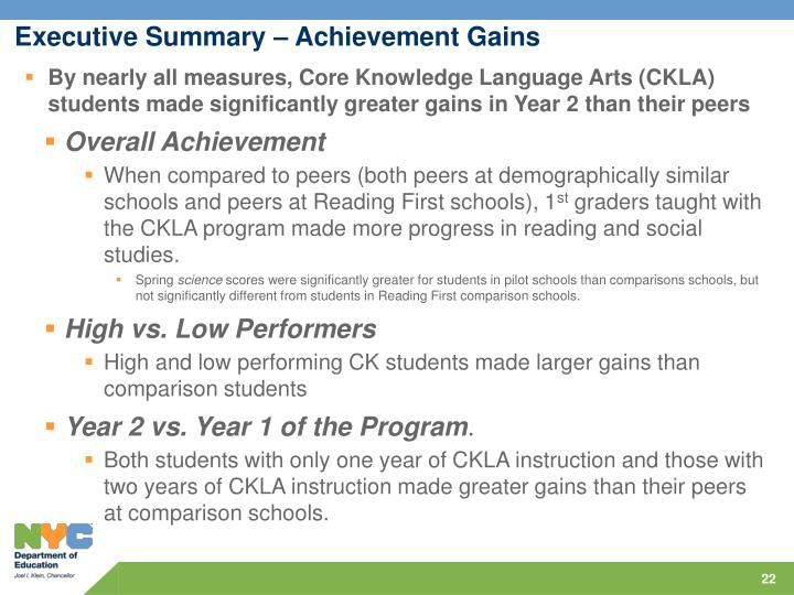 Executive Summary – Achievement Gains
