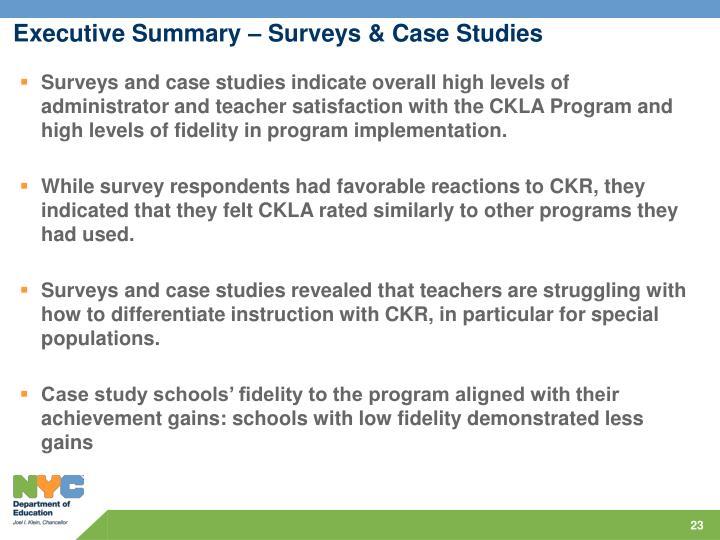 Executive Summary – Surveys & Case Studies