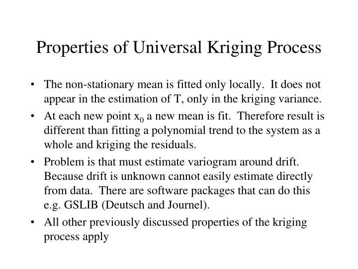 Properties of Universal Kriging Process