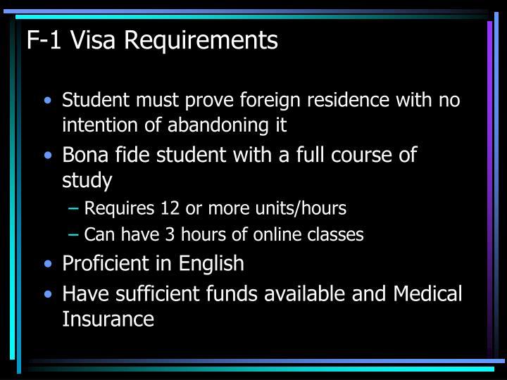 F-1 Visa Requirements