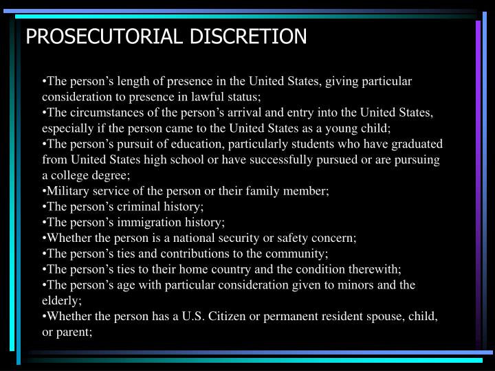 PROSECUTORIAL DISCRETION